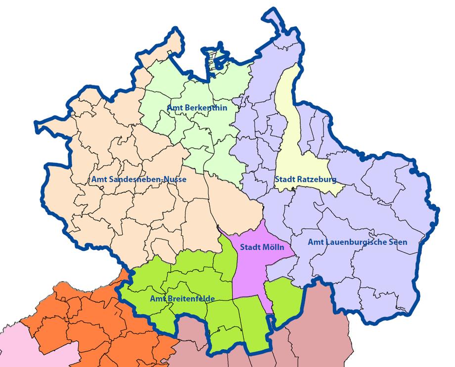 Gebietszuschnitt der AktivRegion Herzogtum Lauenburg Nord e.V.